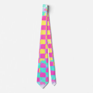 Trendy Lemonberry Mint Grungy Chequerboard Pattern Tie