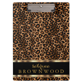 Trendy Leopard Animal Design Clipboard