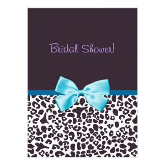 Trendy Leopard Print and Blue Ribbon Bridal Shower Personalized Invite
