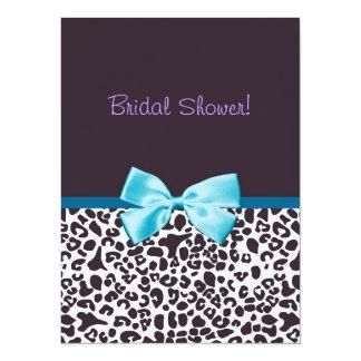 "Trendy Leopard Print and Blue Ribbon Bridal Shower 5.5"" X 7.5"" Invitation Card"