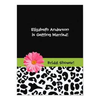 Trendy Leopard Print and Pink Daisy Bridal Shower Card