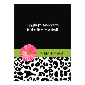 Trendy Leopard Print and Pink Daisy Bridal Shower Custom Announcements
