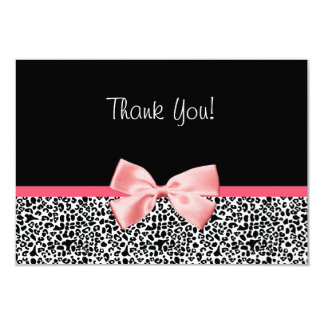Trendy Leopard Print and Pink Ribbon Thank You 9 Cm X 13 Cm Invitation Card