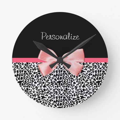 Trendy Leopard Print and Pink Ribbon With Name Clock