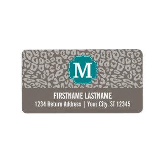 Trendy Leopard Print Pattern with Aqua Monogram Label