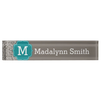 Trendy Leopard Print Pattern with Aqua Monogram Nameplate