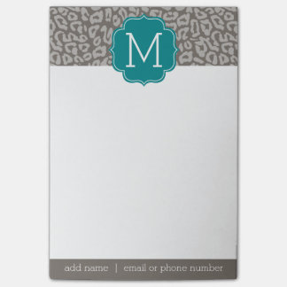 Trendy Leopard Print Pattern with Aqua Monogram Post-it Notes