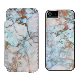 Trendy Light Blue And Gray Marble Stone Incipio Watson™ iPhone 5 Wallet Case