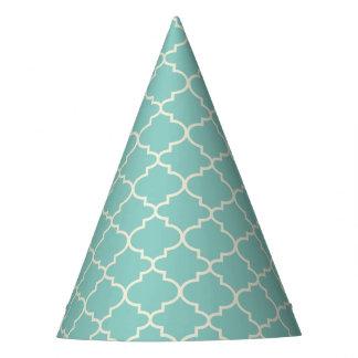 Trendy Light Blue Moroccan Quatrefoil Party Hat