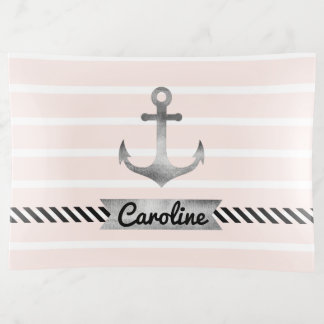 Trendy Light Pink Stripes and Watercolor Anchor Trinket Trays