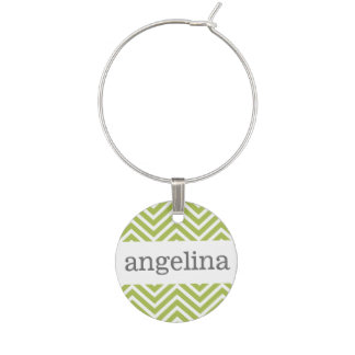 Trendy Lime Green and White Chevron Pattern Wine Charm