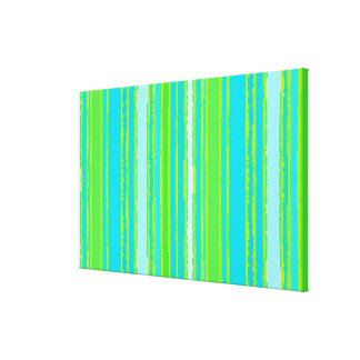 Trendy Lime Green Aqua Turquoise Stripes Pattern Canvas Print