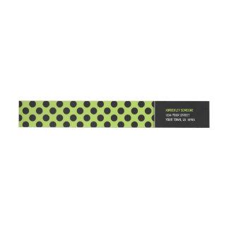 Trendy Lime Green & Black Polka Dot Wraparound Return Address Label