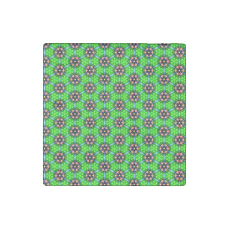 Trendy Lime Green Floral Pattern Stone Magnet