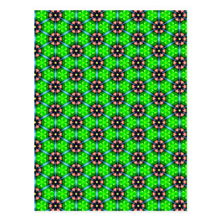 Trendy Lime Green Floral Pattern Postcard