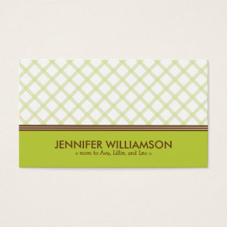 Trendy Lime Green Plaid Mommy Calling Card
