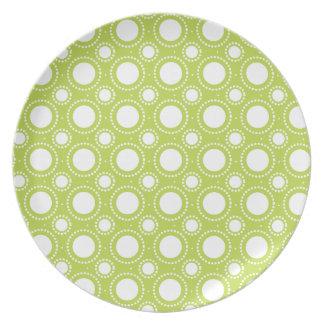 Trendy Lime Green Polka Dots Pattern Plate