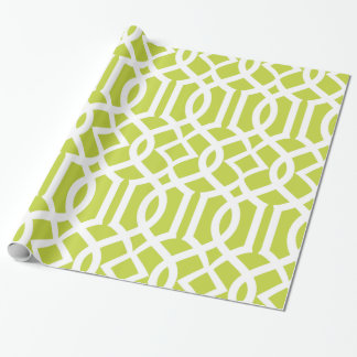 Trendy Lime Green & White Moroccan Trellis Pattern Wrapping Paper