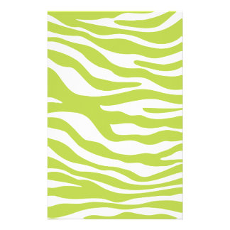 Trendy Lime Green Zebra Print Pattern Custom Stationery