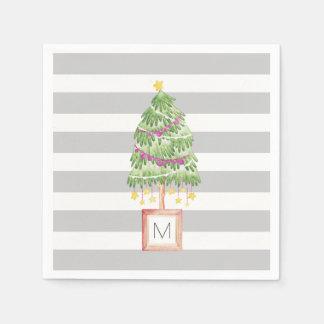 Trendy Little Christmas Tree monogram party decor Paper Napkin
