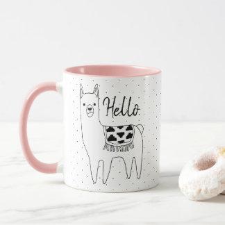 Trendy Llama Sketch & Black Dots Hello Mug