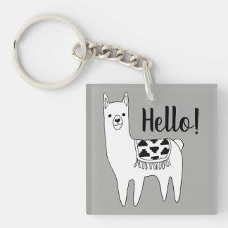 Trendy Llama Sketch Hello! Key Ring