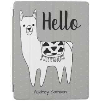 Trendy Llama Sketch & White Dots Hello iPad Smart Cover