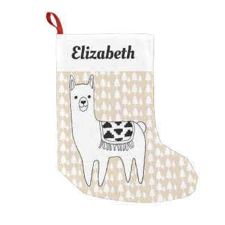 Trendy Llama & Trees Name in Script Small Christmas Stocking