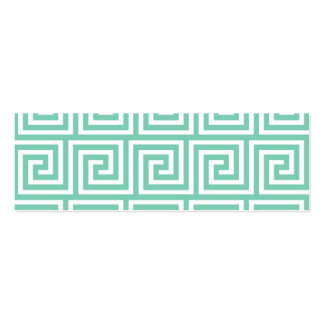 Trendy Lucite Green and White Greek Key Pattern Business Card