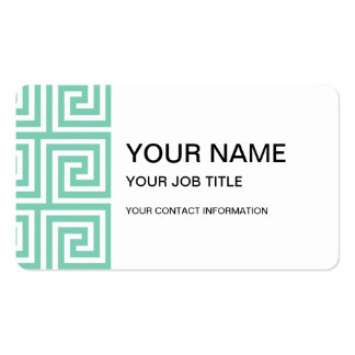 Trendy Lucite Green and White Greek Key Pattern Business Card Template