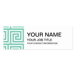 Trendy Lucite Green and White Greek Key Pattern Pack Of Skinny Business Cards