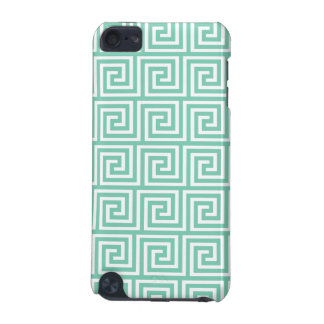 Trendy Lucite Green and White Greek Key Pattern iPod Touch (5th Generation) Cases