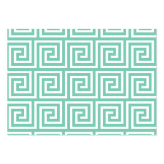 Trendy Lucite Green and White Greek Key Pattern Pack Of Chubby Business Cards