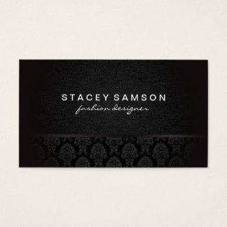 Trendy Luxe Denim with Stylish Damask Pattern Business Card
