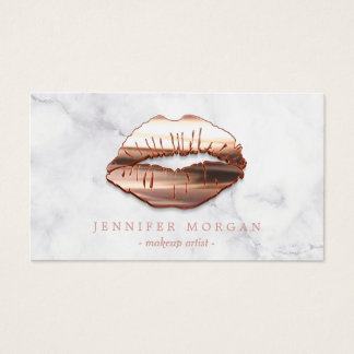 Trendy Marble Rose Gold 3D Lips Makeup Artist Business Card