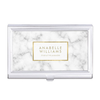Trendy Marble Texture and Faux Gold Foil Business Card Holder