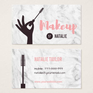 Trendy Mascara Makeup Artist Marble Business Cards