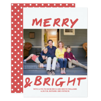 Trendy Merry and Bright Photo Card | Red