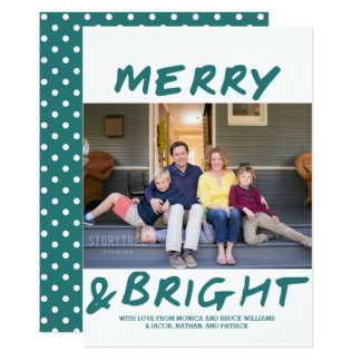 Trendy Merry and Bright Photo Card | Teal
