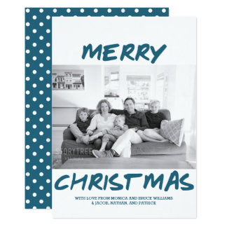 Trendy Merry Christmas Photo Card | Blue
