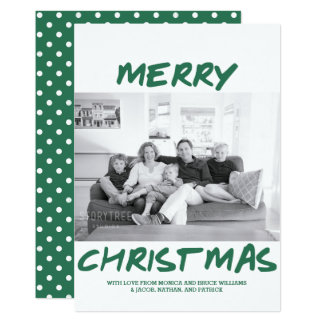 Trendy Merry Christmas Photo Card | Green