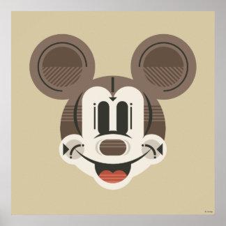 Trendy Mickey   Stylized Stripes Retro Head Poster