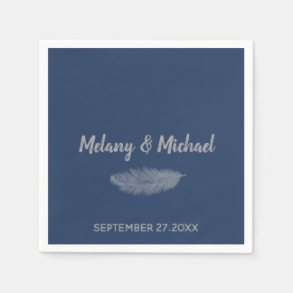 Trendy minimalist navy peony feather wedding disposable serviette