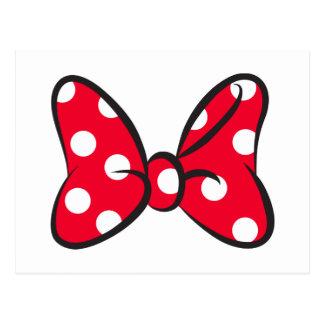 Trendy Minnie   Red Polka Dot Bow Postcard
