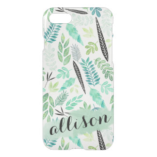 Trendy Mint Black Leaves Watercolor Personalized iPhone 8/7 Case