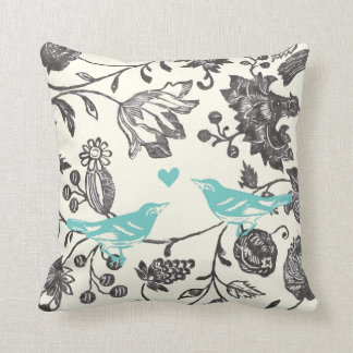 Trendy Mint Gray Vintage Modern Floral Bird Throw Pillow
