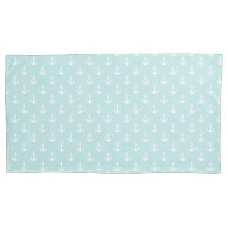 Trendy Mint Green Anchors Pattern Pillowcase
