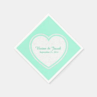 Trendy Mint Green and White Custom Wedding Napkin Disposable Napkin