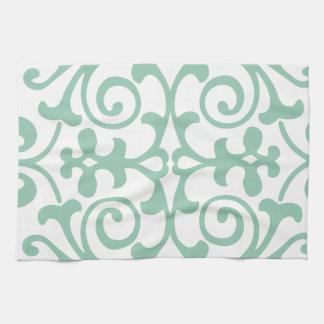 Trendy Mint Green Damask Pattern Tea Towel