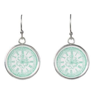 Trendy mint green vintage clock drop earrings
